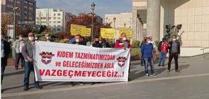 Gaziantepspor çalışanları belediye önünde haklarını arıyorlar